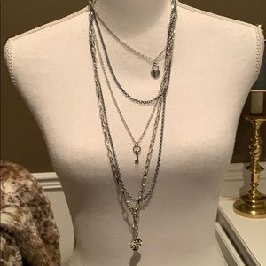 Gray and Silver Multi-Layered Necklace